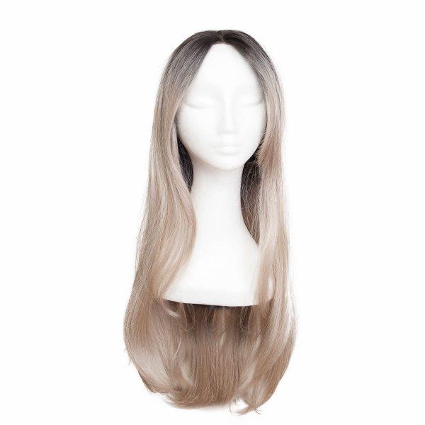 Lace Front -peruukki Long O1.2/10.5 Black Brown/Grey 60 cm