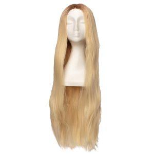 Lace Front -peruukki - Straight Long R7.3/10.8 Cendre Ash Blonde Root 80 cm