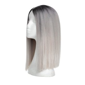 Lace Front -peruukki - Straight Short O1.2/10.5 Black Brown/Grey 35 cm
