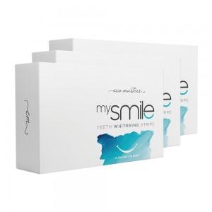 Eco Masters mysmile Hampaiden Valkaisuliuskat - 3 kpl - luonnollinen hampaiden kotivalkaisu - 28 liuskaa