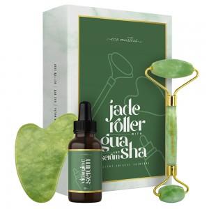 Eco Masters jaderolleri & gua sha-kasvohieroja + seerumi - 1x jaderolleri + 1x gua sha-kasvohieroja + 30ml glyseriiniä sisältävä C-vitamiiniseerumi