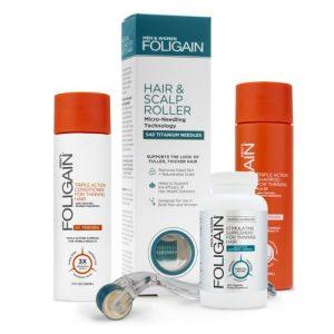 Foligain Men's Bundle - oheneva hiusyhdistelmäpakkaus miehille - luonnollisella shampoolla ja hoitoaineella - sisältää laitteen ja täydennysosan