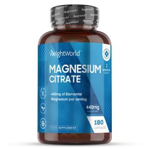 Magnesiumsitraatti - 180 kapselia 3 kuukaudeksi Kokonaisvaltaisen hyvinvoinnin tuki