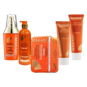 Makari Extreme Yhdistelmäpakkaus kirkastaa ja vaalentaa ihoa - Vartalovoide, kasvovoide, seerumi, geeli ja saippua.
