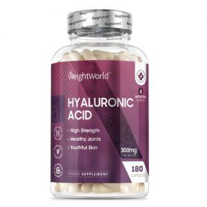 WeightWorld - Hyaluronihappo 300mg - Kapselit luuston ja nivelten terveydeksi - Kapseleita 6 kuukaudeksi - Vegaaninen - 180 kapselia