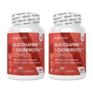Glukosamiini & Kondroitiini - Luonnollinen Niveliä Tukeva Ravintolisä - 360 kapselia - Tuplapaketti