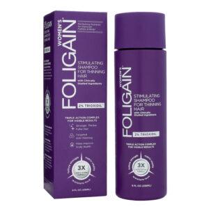 Foligain (2% Trioxidil) Shampoo Naisille - Syväpuhdistaa Hiukset - Poistaa Muotoilutuotejäämät - Kliinisesti Tukitut Ainesosat - Hauraille Hiuksille