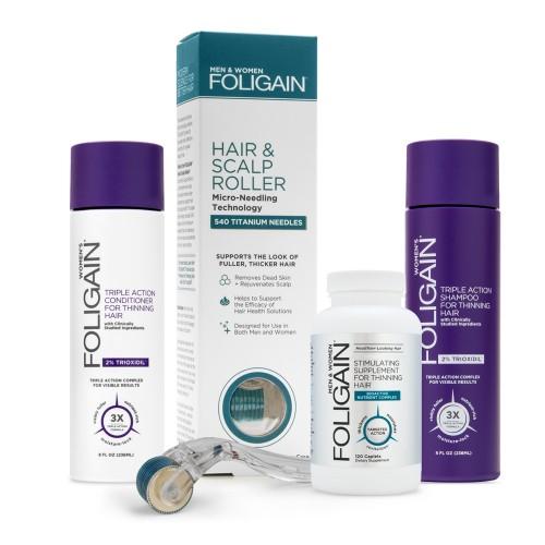 Foligain Women's Bundle - Hoitava hiusyhdistelmäpakkaus naisille - Sisältää luonnollista shampoota ja hoitoaineita - Sisältää laitteen ja