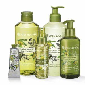 Setti - Oliivi, suihkugeeli, vartaloemulsio, vartalo- ja hiussuih